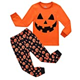 RKOIAN Little Boys Girls' Pajamas Sets Toddler Pumpkin Halloween Pjs 100% Cotton Kids Sleepwear (6 Tall, Orange/Pumpkin1)