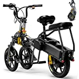 HUIIT 3 Wheel Electric Bike for Adult 350W Folding Mountain Electric Scooter 48V 14'' Electric Bicycle with 2 Fast Battery Charger Maximum Driving Distance 80Km,17AH