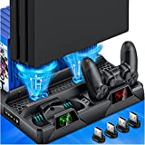 PS4 Stand Cooling Fan for PS4 Slim/PS4 Pro/PlayStation 4,PS4 Pro Stand Vertical Stand Cooler with Dual Controller Charge Station & 16 Game Storage,PS4 Organizer Stand with Game Storage PS4 Accessories