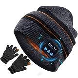 puersit Bluetooth Bonnet Casque de Musique Extérieur Connexion Bluetooth san Fil avec Micro Haut Sport avec Un Casque Stéréo (Rayures - Gants)