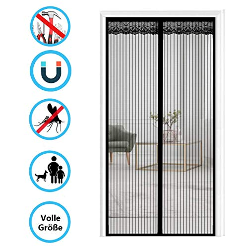 THAIKER Magnetic Fly Screen Door, 180x200cm(71x79inch) Heavy Duty Mesh Curtain Magnetic Mesh Screen Door for Keep Bugs Fly Out, Black