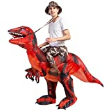 GOOSH Inflatable Dinosaur Costume Riding a T-REX Air Blow-up Deluxe Halloween Costume Red (55 INCH Body height) (Red 11-14 Yrs 63' Height)