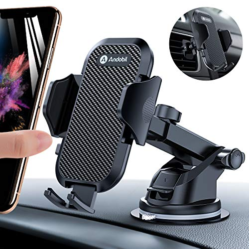 Andobil Car Phone Mount Easy Clamp, Ultimate Hands-Free Phone Holder for Car Dashboard Air Vent Windshield, Super Suction Compatible iPhone 11/11 Pro/8 Plus/8/SE/X/XR/XS/7 Plus Samsung S20/S10/S9/S8