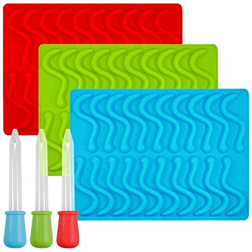 Gummy Worm stampi in silicone con 3contagocce, Senhai stampi, confezione da 3cubetti di ghiaccio per...