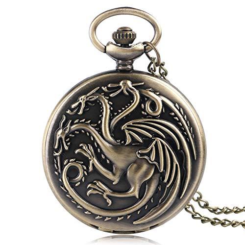 Reloj de Bolsillo con diseño de Game of Thrones para Hombre, diseño de Escudos de la Familia, casa Targaryen, Bronce, Cuarzo, dragón, Fuego y Sangre, Reloj de Bolsillo, Reloj de Bolsillo de Regalo
