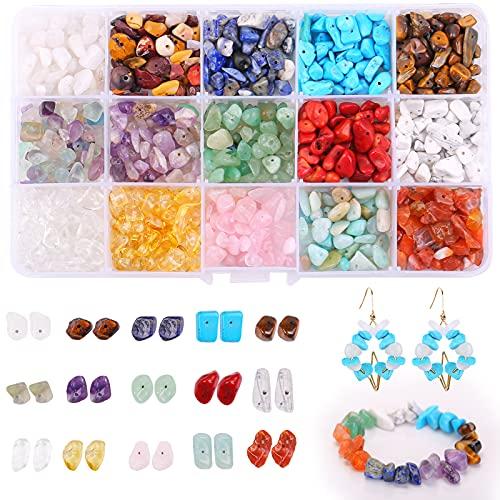 Cuentas de piedras preciosas,cuentas de piedras preciosas naturales,Piedras para bisuteria,Se utiliza para manualidades, pendientes, pulseras, collares. (15 cells)