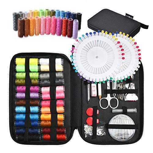 Tuxwang Kit de costura con 130 piezas Accesorios de costura premium con funda de transporte, 24 carretes de hilo - 1 paquete de agujas de coser (cuenta 30) Kit de costura de viaje