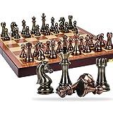 JHSHENGSHI Juego de ajedrez Estilo Retro Chapado en Metal de Cobre Boutique Pieza de ajedrez Caja de folFlag fácil de almacenar para niños Juego de Mesa para Adultos