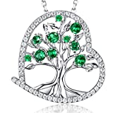 Zavest Tree of Life Necklace May Birthstone Emerald Jewellery for Women Mothers Day Birthday Gifts for Mum Wife Sterling Silver Love Heart Tree Pendant