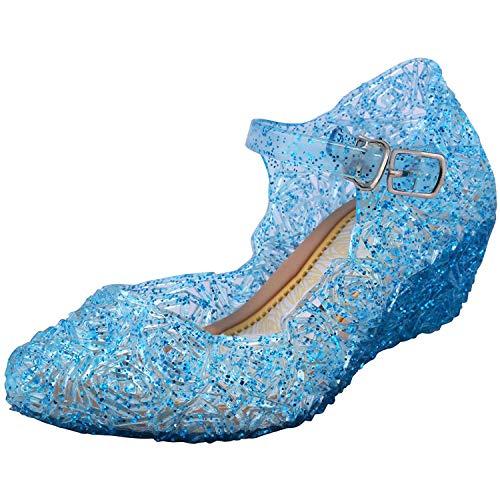 Tyidalin Niña Bailarina Zapatos de Tacón Disfraz de Princesa Zapatilla de Ballet para 3 a 12 Años Azul EU29