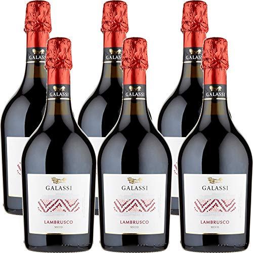 Lambrusco Emilia IGT   Galassi   Gusto Secco   Vino Rosso Frizzante   6 Bottiglie 75 Cl   Piacevole Abbinato alla Pizza   Idea Regalo