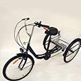 HaroldDol Tricycle 24 Pouces pour Adultes, 6 Vitesses Tricycle Adulte Shopping avec Panier vélo à 3 Roues pour Adultes Tricycle Adulte vélo de Confort Sports de Plein air City Urban