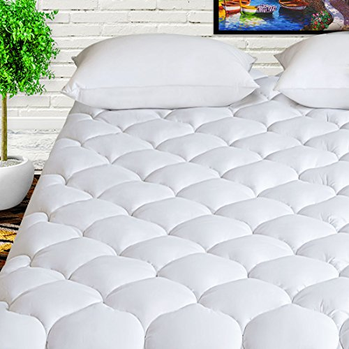 HARNY Mattress Pad Cover Full Size 400TC Cotton Pillow Top Cooling Breathable Mattress Topper Quilted Fitted with 8-21' Deep Pocket