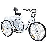 MuGuang Triciclo Adulto 26' 7 velocidades Bicicleta 3 Ruedas Adulto con Cesta de la Compra(Blanco)