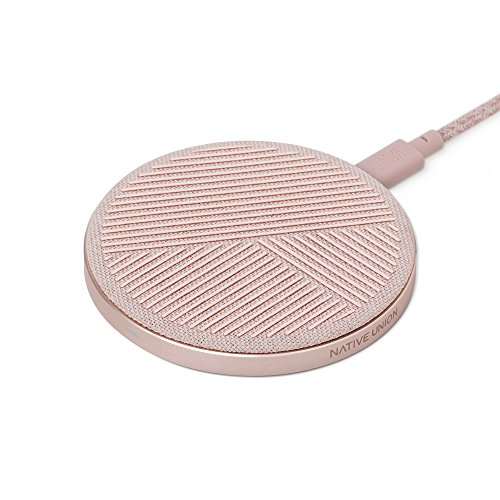 Native Union Drop Cargador Inalámbrico - [Qi Certified] 10W Pad Antideslizante de Carga Rápida para Dispositivos Inalámbricos - Compatible con iPhone 11/11 Pro/11 Pro MAX/XS/XS MAX/XR/X (Rose)