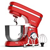 Kuppet Stand Mixer, 8-Speed Tilt-Head Electiric Food Stand Mixer with Dough Hook, Wire Whip & Beater, Pouring Shield, 4.7QT Stainless Steel Bowl. (Red)