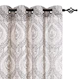 jinchan Damask Printed Curtains for Bedroom Drapes Vintage Linen Blend Medallion Curtain Panels Window Treatments for Living Room Patio Door 1 Pair 84' Grey