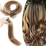 Elailite Extension Kératine Cheveux Naturel 0.5g /Mèche - Rajout Cheveux Humain Pose a Chaud 100 Mèches (#4+27 MARRON CHOCOLAT MECHE BLOND FONCE, 50 cm)