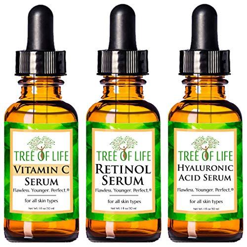 ToLB 72% Organic Anti Aging Serum Combo Pack - Vitamin C Serum, Retinol Serum and Hyaluronic Acid Serum