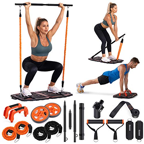 Gonex Portable Home Gym Workout Equipment with 10 Exercise Accessories Ab Roller Wheel,Elastic Resistance...