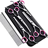 Gimars 4CR Stainless Steel Safety Round Tip 6 in 1 Dog Grooming Scissors, Heavy Duty Titanium Coated Pet Grooming Scissor for Dogs, Cats and Other Animals