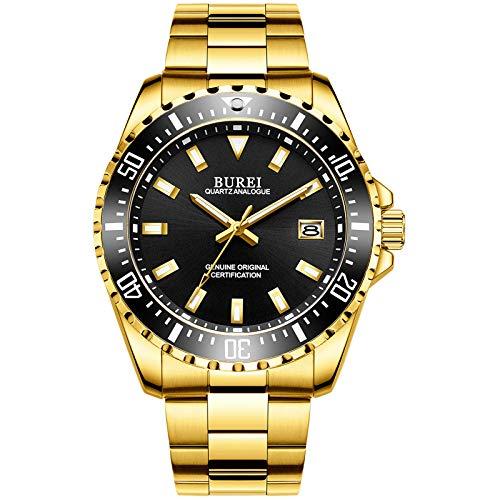 BUREI Uhren Herren Analog Herrenuhr Edelstahl Gold Armbanduhr mit Datum Saphirglas Uhr Wasserdicht Groß(Schwarz)