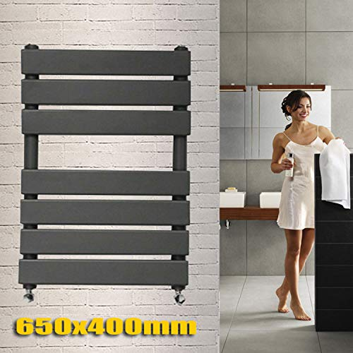 Toallero de panel plano para baño con radiador, escalera, hidrónico, 650 x 400 mm, color antracita, montado en la pared, alta BTU, modernos, calefacción central, ahorro de espacio, perfecto para baños