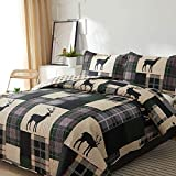 CHESITY Lodge Quilt Set Bedding Lightweight Cabin Quilts Set Full/Queen Size,3Pcs Rustic Moose Bedspreads Reversible Lodge Coverlet Sets Deer Printed Quilt Pillow Shams.