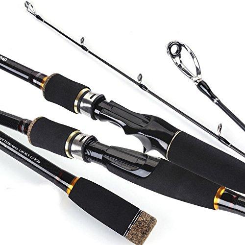 Pergamena Rate viaggio canna da pesca Spinning MH rigida 3/4sezione canna da pesca in fibra di carbonio Casting Pesce strumento, Gieen, 2.1m
