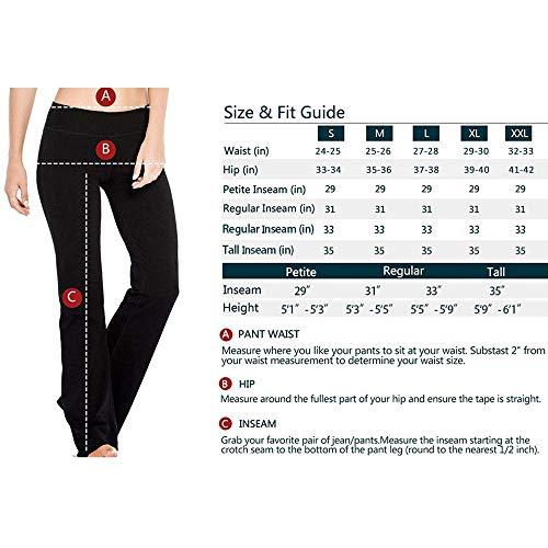 Houmous S-XXL Petite/Regular/Tall Length, Women's Yoga Bootleg Pants Inner Hidden Pocket Workout Pants(Petite-29 Inseam-Black, X-Large) 8
