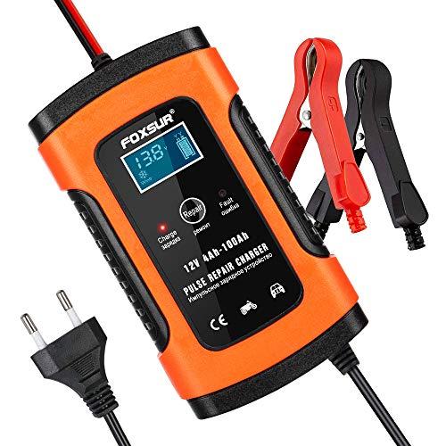opamoo Batterie Ladegerät Auto, Autobatterie Ladegerät, 6A 12V Vollautomatisches Batterieladegerät Auto Erhaltungsladegerät mit LCD Mehrfachschutz für Autobatterie, Motorrad, Rasenmäher oder Boot