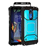Z-GEN - for LG K40, Harmony 3, Xpression Plus 2 (2019) LM-X420, LG Solo LTE L423DL - Aluminum Metal Hybrid Phone Case + Tempered Glass Screen Protector - ZY1 Blue