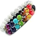 Lot De 2 Bracelets 7 Chakras Alik'S Pierres De Lave Naturelles Perles D'Energie...