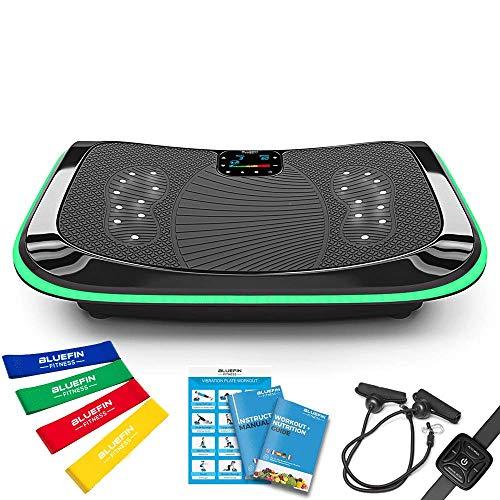 Bluefin Fitness Vibrationsplatte Pro Modell   Verbessertes Design mit Leisen Motoren und Eingebauten Lautsprechern
