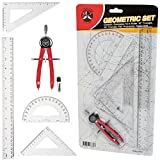 Protractor and Compass for Geometry for Kids with Rulers and Two Set Squares