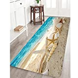 Memory Foam Bath Mat Non Slip Bathroom Rug Absorbent Bathroom Carpet Seashells Starfish Rug Soft and Cozy 24 inches X 71 inches