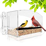 Nature Gear Crystal View Window Bird Feeder - Dome Roof & Steel Perch - Weatherproof Rain or Shine Design - Refillable Sliding Tray for Finches, Cardinals, Chickadee's, Robins, Bluebirds and More!