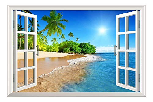 Wall26 White Beach with Blue Sea and Palm Tree Open Window Mural Wall Decal Sticker - 36