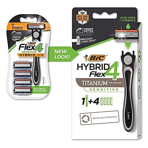 Flex 4 Sensitive Hybrid Men's 4-Blade Disposable Razor, 4...