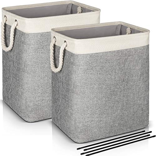 Laundry Basket with Handles 2 Pack, JOMARTO Collapsible Linen Laundry Hampers Built-in Lining with Detachable...