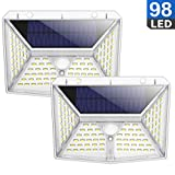 QTshine Lampe Solaire Extérieur 98 LED, [270° Éclairage à Quatre Angles...