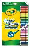 CRAYOLA SUPERTIPS-Pennarelli Lavabili per Bambini a Punta Media, per Scuola e Tempo Libero, 24 Colori, Assortiti, Pezzi, 7551-24