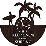 Absolutely Unique Gift Wooden Wall Clock Sports Surfing Christmas for Men Women dad Girls him her Husband Boys Surfer Home Decor Art Decorations Vinyl Collectibles