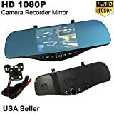 5 in 300mm 1080P Full HD Blue Tint Front/Back Up Reverse Rear Camera Video Recorder Rearview Rear-View Interior Mirror