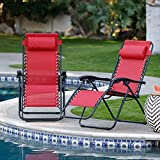 QUALITYZONE Folding Camping Reclining Chairs,Portable Zero Gravity Chair,Outdoor Lounge Chairs, Patio Outdoor Pool Beach Lawn Recliner (Folding Reclining)