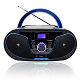 LONPOO Radio CD Portable Lecteur CD Enfants Bluetooth Boombox Stéréo...
