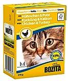 Bozita Häppchen in Soße Nassfutter mit Hühnchen&Pute im Tetra Recart 16x370g - Getreidefrei - nachhaltig produziertes Katzenfutter für erwachsene Katzen - Alleinfuttermittel