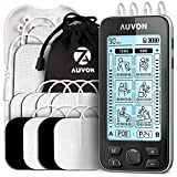 AUVON 4 Outputs TENS Unit EMS Muscle Stimulator Machine for Pain Relief Therapy with 24 Modes Electric Pulse Massager, 2' and 2'x4' Electrodes Pads (Black)