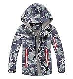 YoungSoul Blouson Imperméable Doublé Polaire Garçon - Coupe-Vent Imprimé Camouflage Enfant - Veste de Randonnée avec Capuche - Gris Vert - 9-10 Ans/Taille XL