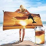 Lawenp Toalla de Playa de Secado rápido, Dolphin at Dusk Toallas de baño Ligeras de Microfibra con Estampado Súper Absorbente para niños y Adultos 31.5 'X63'